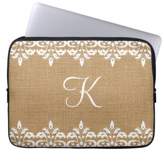 Country Burlap and white damask lace monogram Laptop Sleeves
