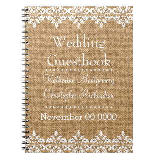 Country Burlap and white damask lace Wedding Spiral Notebook