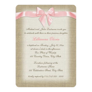 Country Burlap Baby Pink Christening Card