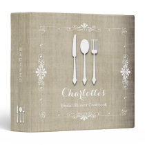 Country Burlap Bridal Shower Cookbook Binder