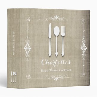 Country Burlap Bridal Shower Cookbook Binder