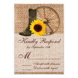 Country Burlap Cowboy Boots Sunflower Wedding RSVP Card