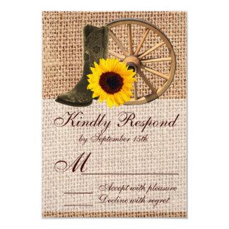 Country Burlap Cowboy Boots Sunflower Wedding RSVP Card