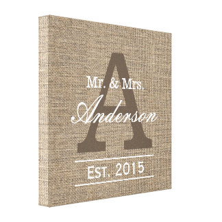 Country Burlap Family Established Family Name Sign