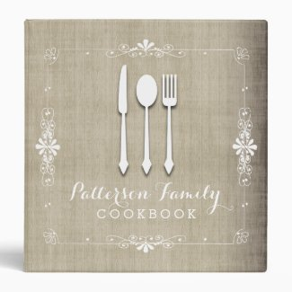 Country Burlap Family Recipe Cookbook Binder