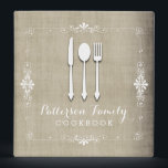 """Country Burlap Family Recipe Cookbook Binder<br><div class=""""desc"""">A lovely keepsake for any family - a recipe book full of favorite dishes, organized into one beautiful binder. Personalized with your text on the front, and featuring an original illustration of a white fork, knife, and spoon surrounded by a curly swirly border on a burlap looking background. With whimsical...</div>"""