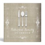 Country Burlap Family Recipe Cookbook Binder<br><div class='desc'>A lovely keepsake for any family - a recipe book full of favorite dishes, organized into one beautiful binder. Personalized with your text on the front, and featuring an original illustration of a white fork, knife, and spoon surrounded by a curly swirly border on a burlap looking background. With whimsical...</div>