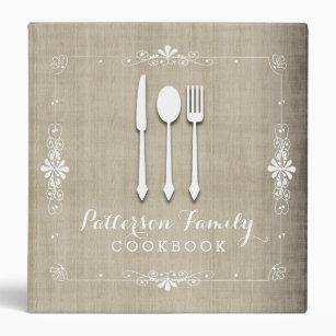 Country Burlap Family Recipe Cookbook Binder
