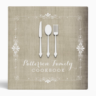 Country Burlap Family Recipe Cookbook Binder at Zazzle