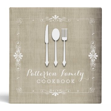 kat_parrella Country Burlap Family Recipe Cookbook Binder