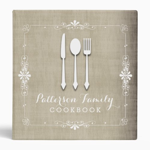 Country Burlap Family Cookbook Binder