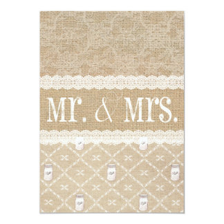 Country Burlap, Lace and Mason Jar Wedding Invitat Card