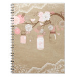 Country Burlap & Lace Mason Jar Tree Note Book