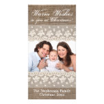 Country Burlap Lace Rustic Vintage Christmas Photo Greeting Card