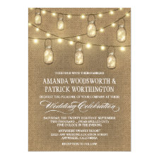 Country Burlap Mason Jar Wedding Invitations