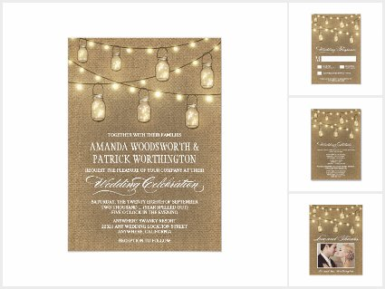 Country Burlap Mason Jar Wedding Invitations Set
