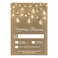 Country Burlap Mason Jar Wedding RSVP Cards