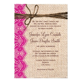 Country Burlap Pink Lace Twine Wedding Invites