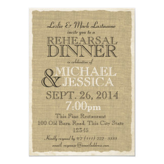 Country Burlap Rehearsal Dinner 5x7 Paper Invitation Card