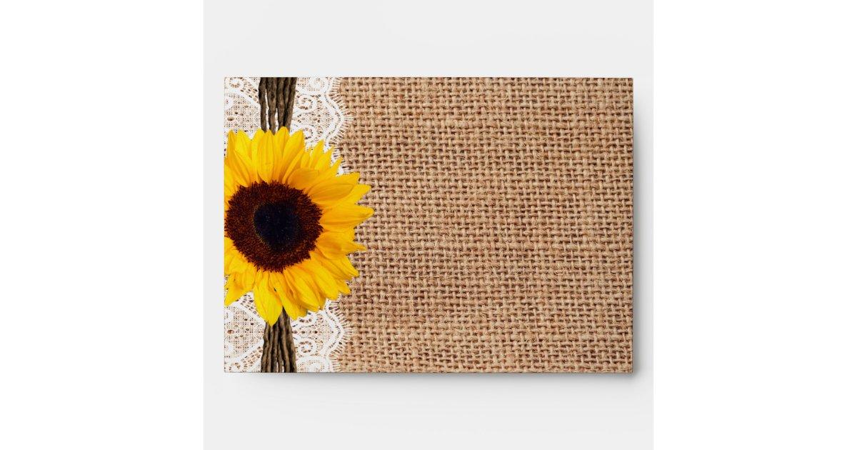 Country Burlap Sunflower Lace Twine Print Envelope Zazzle