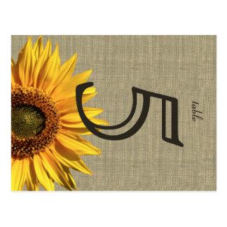 Country Burlap Sunflower Wedding Table Card Postcard