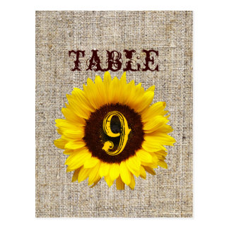 Country Burlap Sunflower Wedding table numbers Postcard