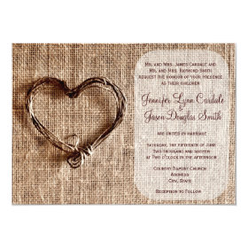 Country Burlap Twine Heart Wedding Invitations