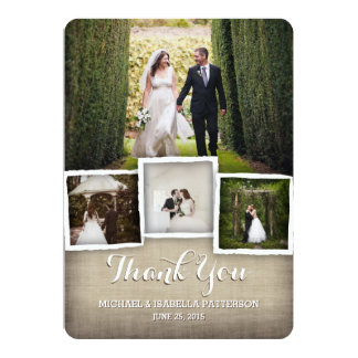 Country Burlap Wedding Photo Thank You Card