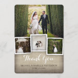 """Country Burlap Wedding Photo Thank You Card<br><div class=""""desc"""">Casual and elegantly rustic, this beige burlap background and stylish typography sets the stage for a lovely thank you photo card for your wedding. With templates for a multi photo collage of your joyful day, this card is a lovely way to thank your loved ones. With a large photo on...</div>"""