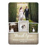 Country Burlap Wedding Photo Thank You Card at Zazzle