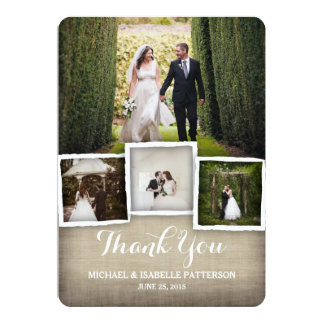 country burlap wedding photo thank you card - Picture Wedding Invitations
