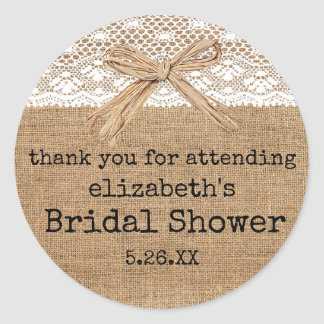 Country Burlap with Lace Bridal Shower Guest Favor Classic Round Sticker