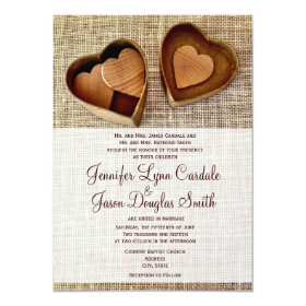 Country Burlap Wooden Hearts Wedding Invitations