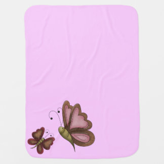 Country Butterfly Pink Girls Stroller Blanket