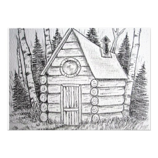 Country cabin Hide away Art invitations