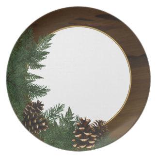 Country Cabin Pine Cone Dinnerware Melamine Plate