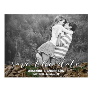 Country Camo Rustic Photo Save the Date Cards Postcard