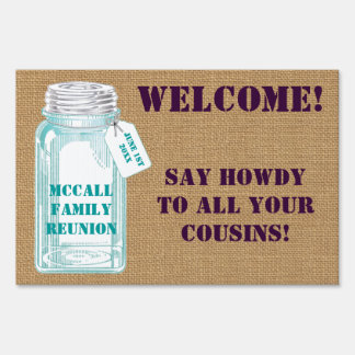 Country Canning Jar With Burlap Background Lawn Signs