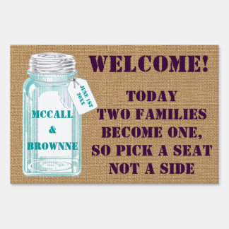 Country Canning Jar With Burlap Background Signs