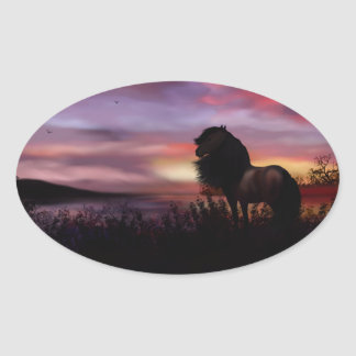 country cape Sunrise and horse Oval Sticker