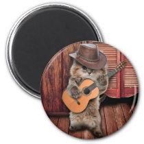 Country Cat - guitarist Cat - funny cat Magnet