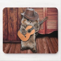 Country Cat - guitarist Cat - funny cat Mouse Pad
