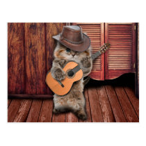 Country Cat - guitarist Cat - funny cat Postcard