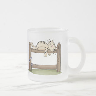 Country Cat Nap 10 Oz Frosted Glass Coffee Mug