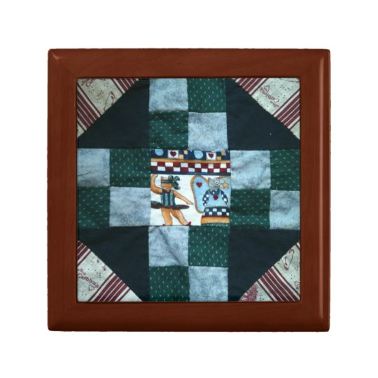 Country cats quilt square jewelry box