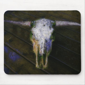 Country Cattle Rancher  Horns & Cow Skull Mousepad