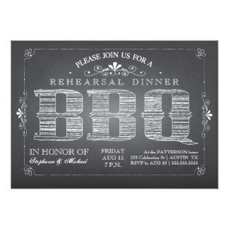 Country Chalkboard BBQ Rehearsal Dinner Invitation