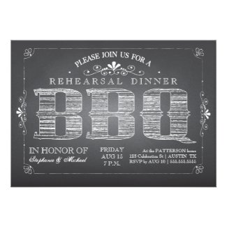 Country Chalkboard BBQ Rehearsal Dinner Invitation
