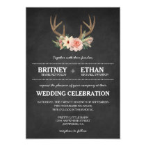 Country Chalkboard Deer Antler Wedding Invitations