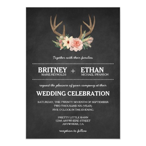country chalkboard deer antler wedding invitations zazzle